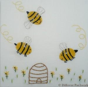 Borduurwerk bijtjes gewaarmerkt