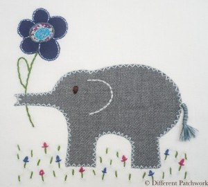Borduurwerk olifant gewaarmerkt